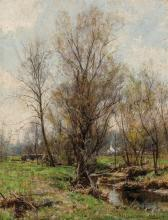 """HUGH BOLTON JONES, American (1848-1927), Winter Trees Along a Brook, oil on canvas, signed lower right """"H. Bolton Jones"""", 18 x 14 in..."""