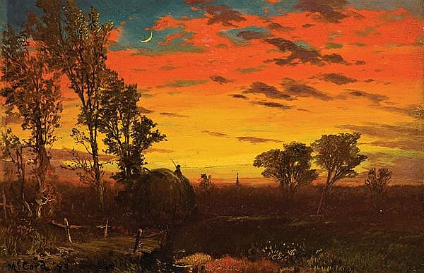 GEORGE McCORD, American (1848-1909), Sunset Over a Farm, oil on canvas, signed lower left and dated '73., 7 1/4 x 10