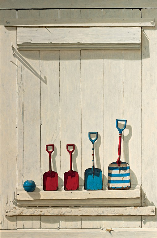 DAVID BREGA, American (b. 1948), Summer Shovels, oil on masonite, signed lower right and dated 92., 48 x 32