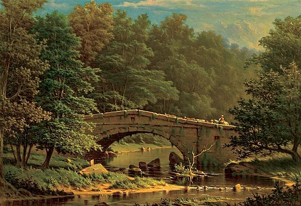 FREDERICK DeBOURG RICHARDS, American (1822-1903), Crossing a Bridge, oil on canvas, signed lower right and dated 1874., 14 x 20