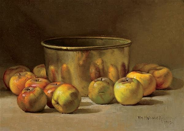 WILLIAM HUBACEK, American (1871-1958), Still Life with Apples and Copper Pot, oil on canvas, signed lower right and dated 1912., 14...