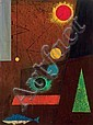 CHARLES GREEN SHAW, American (1892-1974), Red Sun, oil on panel, signed lower right., 16 x 12, Charles Green Shaw, Click for value
