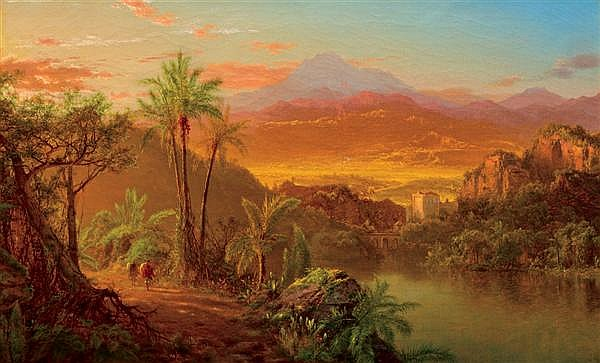 "LOUIS REMY MIGNOT, American (1831-1870), Travelers in a Tropical Landscape, oil on can vas, initialed and dated ""M/61"" lower left.,..."