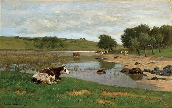 EUGEN JETTEL, Austrian (1845-1901), Cows Watering, oil on canvas, signed lower left, dated '87 and inscribed