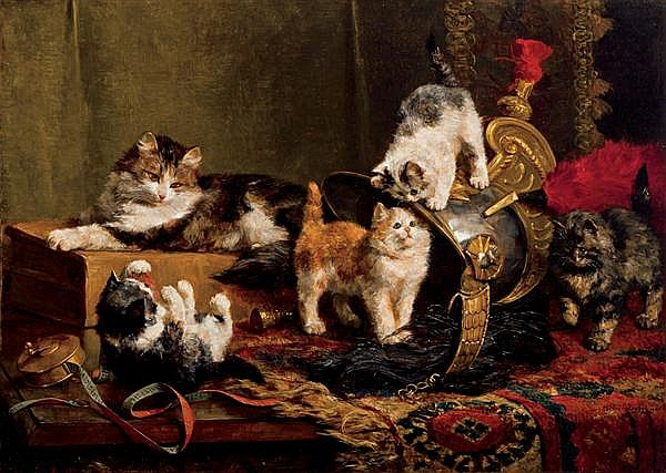 CHARLES H. van den EYCKEN II, Belgium (1859-1923), Playful Kittens, oil on canvas, signed lower right and dated 1901., 27 x 37 1/2