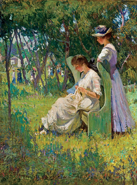 MARY BRADISH TITCOMB, American (1858-1927), Two Girls, Old Lyme c. 1905, oil on canvas, signed lower left., 40 1/4 x 30 1/8