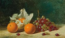 ALBERT FRANCIS KING, American (1854-1945), Still Life with Oranges and Grapes, oil on canvas, signed lower right., 12 x 18