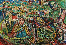 DAVID BURLIUK, Russian/American (1882-1967), Untitled, oil on panel, signed lower center., 16 x 24