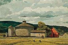 ERIC SLOANE, American (1905-1985), Shingled Barn, Lowell, Vermont, oil on board, signed lower left and inscribed
