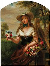GEORGE HENRY HALL, American (1825-1913), Girl With Flowers, oil on canvas, signed lower right., 25 x 19