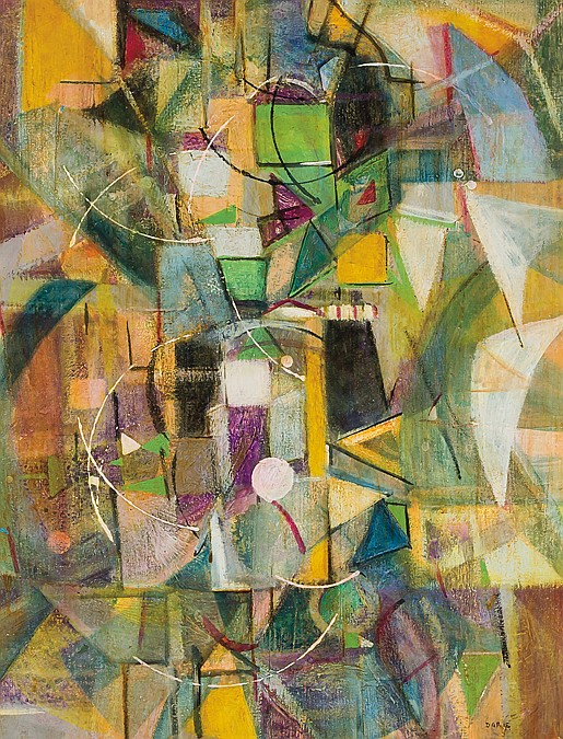 SANDU DARIE, Cuban (20th Century), Abstract, oil on canvas, signed lower right, n. V7191 on the reverse., 19 x 14 1/2