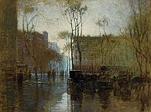 PAUL CORNOYER, American (1864-1923), Rainy Day, New York, oil on canvas, signed lower left., 18 x 24