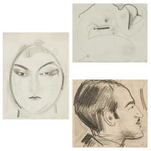 """GUSTAV GWOZDECKI, Polish (1880-1935), Portrait of a Woman Female Figure Abstract """"Portrait of a Jules Pascin"""" Group of Three, pencil..."""