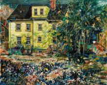 """JOHN GRABACH, American (1886-1981), Artist's Home in Summertime, oil on canvas, signed lower left """"John R. Grabach"""", 24 x 30 inches"""