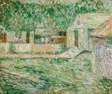 """JOHN GRABACH, American (1886-1981), Landscape with House, oil on canvas, signed lower right """"J.R. Grabach"""", 17 1/2 x 20 1/2 inches"""