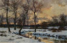 "HUGH BOLTON JONES, American (1848-1927), River in Winter, oil on canvas laid down on board, signed lower left ""H. Bolton Jones"", 16..."