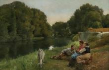 LUIS JIMENEZ Y ARANDA, Spanish (1845-1928), Conversation Along the River, oil on canvas, signed