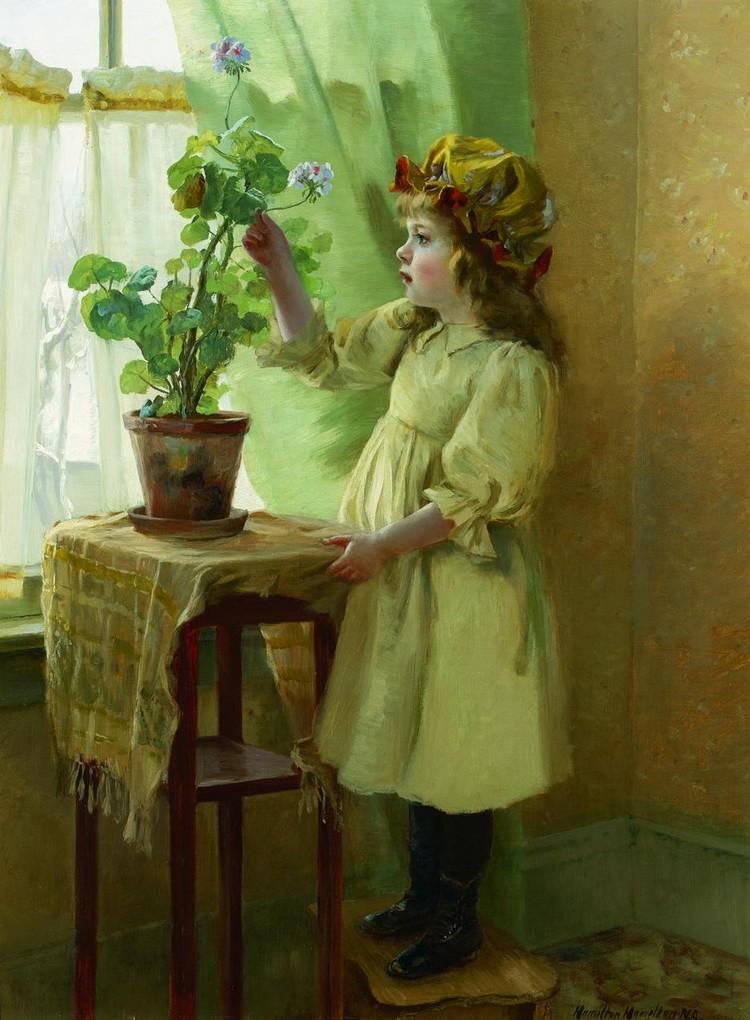 HAMILTON HAMILTON American (1847-1928) Young Girl with Geran