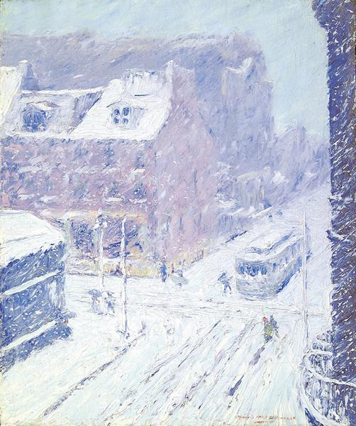 MORRIS HALL PANCOAST American (1877-1963) Philadelphia in Winter oil on canvas, 18 x 15, signed lower right. Provenance: Private collection, Long Island, New York.