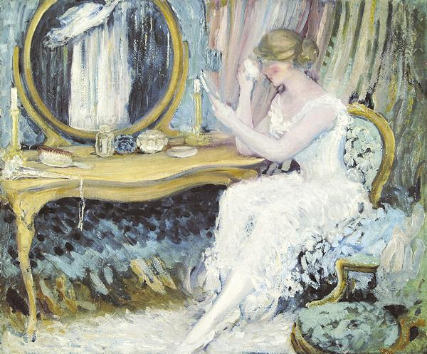 EVERETT LLOYD BRYANT American (1864-1945) At Her Vanity oil on canvas, 25 x 30 1/4, estate stamped on the reverse. Provenance: Descended in the artist's family to the present.