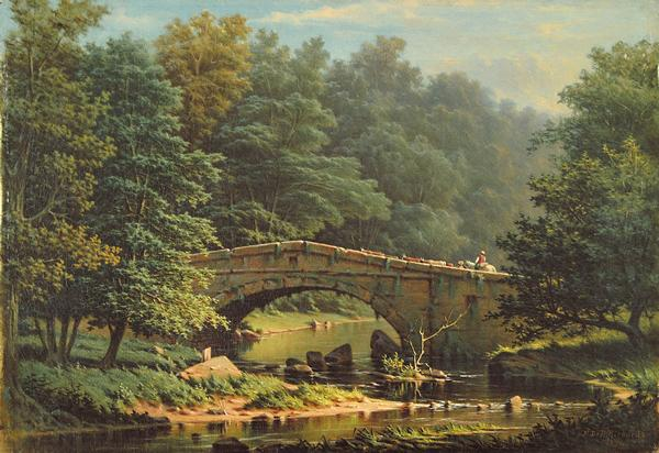 FREDERICK DE BOURG RICHARDS American (1822-1903) Crossing the Bridge oil on canvas, 14 x 20, signed lower right and dated 1874.