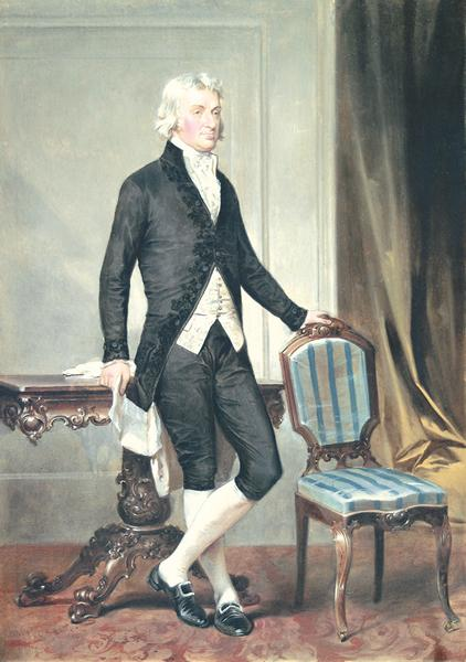 ALONZO CHAPPEL American (1828-1887) Robert Livingston watercolor and gouache, 17 1/4 x 12 1/4, signed lower left and dated '58. Provenance: Ed Sheppard.
