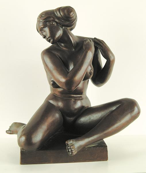 GEORGE AARONS American (1896-1980) Classical Nude bronze with brown patina, 14 1/2 h, 12 1/2w, signed and dated 1940. Inscribed