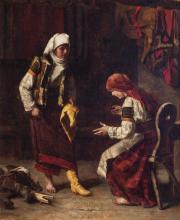 JULIUS ZUBER, German (1861-1902), Shoe Seller, oil on canvas, signed