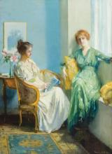 FRANCIS COATES JONES, American (1857-1932), An Afternoon Reading, oil on canvas, signed