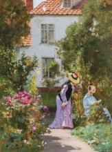 HUGO SALMSON, Swedish (1843-1894), Women in the Garden, oil on panel, signed