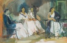 EDOUARD LEON LOUIS EDY-LEGRAND, French (1892-1970), Dancers in Seville, gouache on paper, signed
