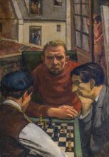 FRANTISEK ZDENEK EBERL, French/Czech (1887-1962), Chess Players, oil on canvas, signed