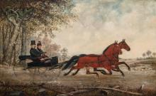 HENRY HERMAN CROSS, American (1837-1918), Carriage Ride, oil on canvas, signed