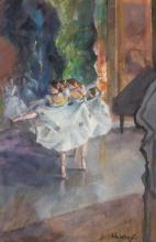 JOHN WHORF, American (1903-1959), Dancers, c. 1950, watercolor on paper laid down on paper, signed