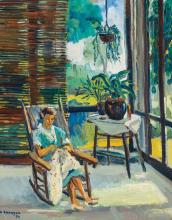 GEORGE ALAN SWANSON, American (1908-1968), Porch in the Tropics, oil on canvas, signed