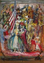 THERESA FERBER BERNSTEIN, American/Polish (1890-2002), The Fourth of July, oil on board, signed