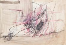 """GIUSTINO VAGLIERI, Italian (1929-2000), Untitled, mixed media on paper on canvas, signed and dated """"Vaglieri 59"""" lower right., 27 1/..."""