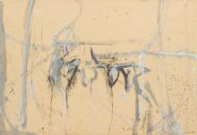"""GIUSTINO VAGLIERI, Italian (1929-2000), Untitled, oil on paper on canvas, signed """"Vaglieri"""" and dated """"58"""" lower right., 27 1/2 x 39..."""