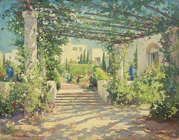 """COLIN CAMPBELL COOPER, American (1856-1937), """"The Terrace, Samarkand"""", oil on canvas, signed lower left and dated 1927. Signed and t..."""