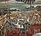 """PEPPINO GINO MANGRAVITE American (1896-1978) """"Rye Beach"""" oil on canvas, signed lower right. Signed and titled on the reverse."""