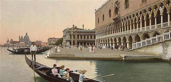 VINCENZO CAPRILE Italian (1856-1936) The Molo with the Doge's Palace oil on canvas,signed lower right and dated 1905.