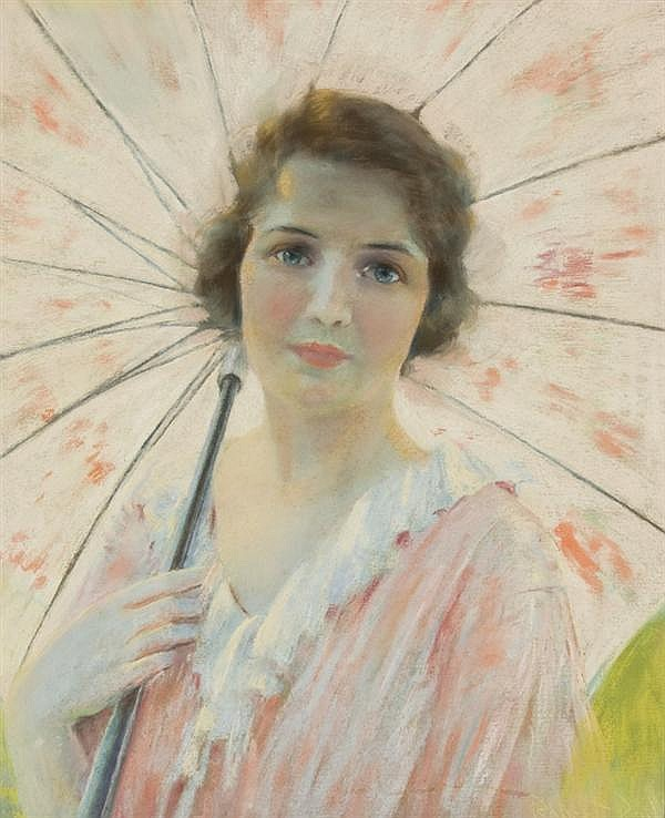 ROBERT LEWIS REID American (1862-1929) Lady with Parasol pastel on buff paper, signed lower right and dated 1921.