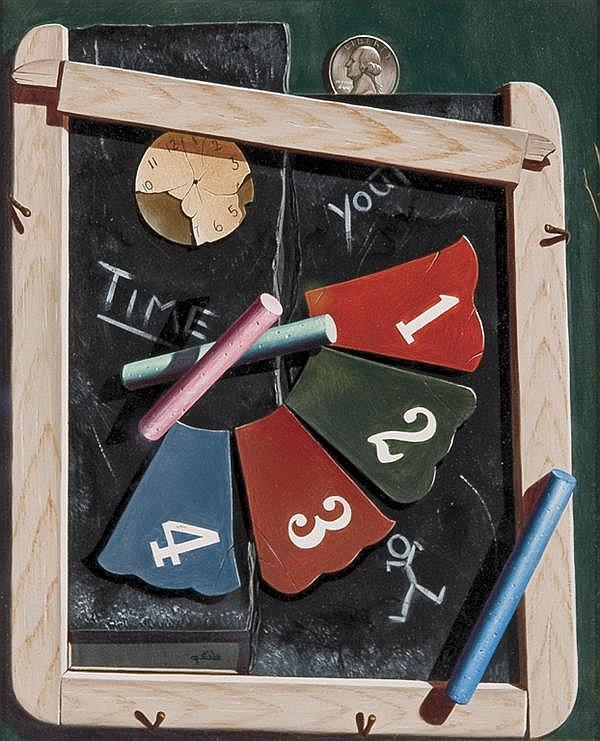 GARY T. ERBE American (b. 1944) Chalkboard oil on panel, signed lower left.
