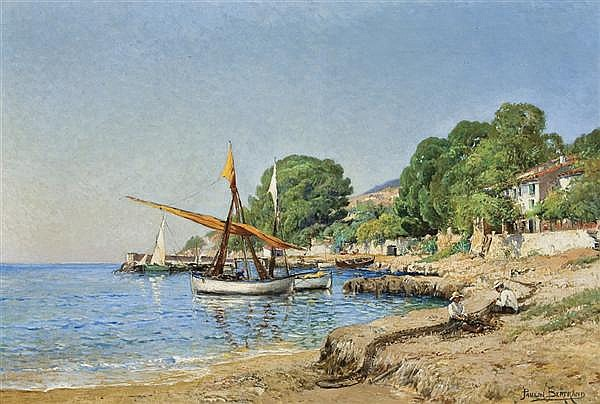 PAULIN ANDRE BERTRAND French (1852-1940) Activities by the Shore oil on canvas, signed lower right.