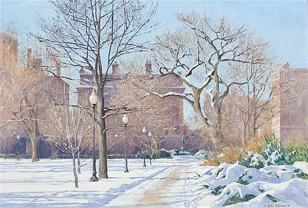 ROBERT E. MOORE American (1956-2003) A Boston Park in Winter oil on canvas, signed lower right.