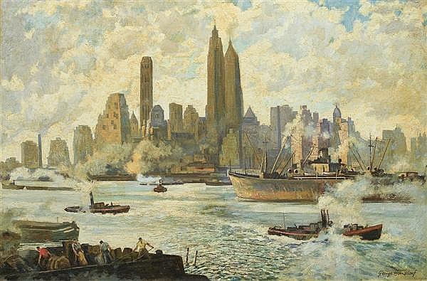 GEORGE HAUSDORF American (1888-1959) A View of New York City oil on canvas, signed lower right.
