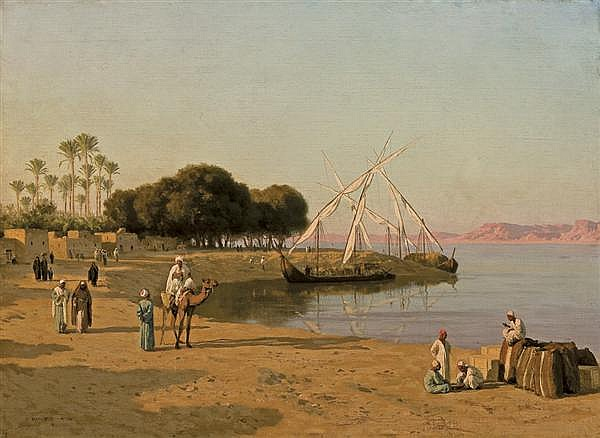 STEPHAN WLADILAWOWITSCH BAKALOWICZ Polish (1857-1947) Trading Ships on the Nile oil on canvas on board, signed lower left and dated...