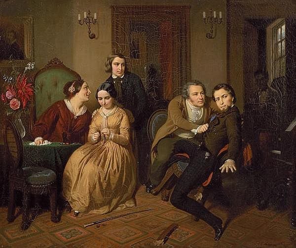 ERNST GEORG FISCHER, American (1815-1874), The Broken Chair, oil on canvas, signed lower right., 30 x 35