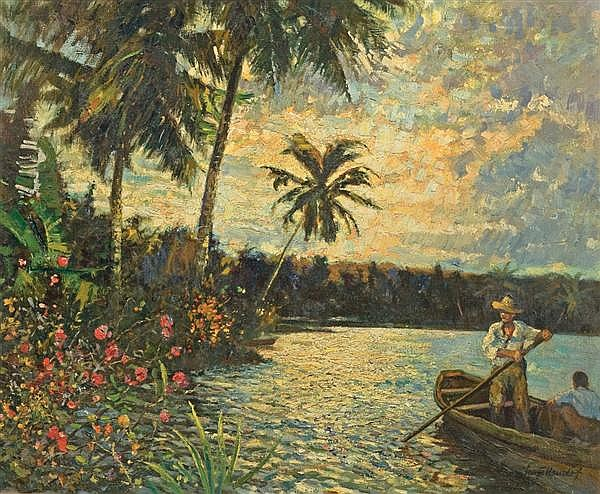 GEORGE HAUSDORF, American (1894-1959), Tropical Paradise, Barahona, Dominican Republic, oil on canvas, signed lower right, inscribed...