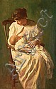 EDWIN BURRAGE CHILD, American (1868-1937), Mother and Child, oil on canvas, signed lower left., 28 x 18, Edwin Burrage Child, Click for value